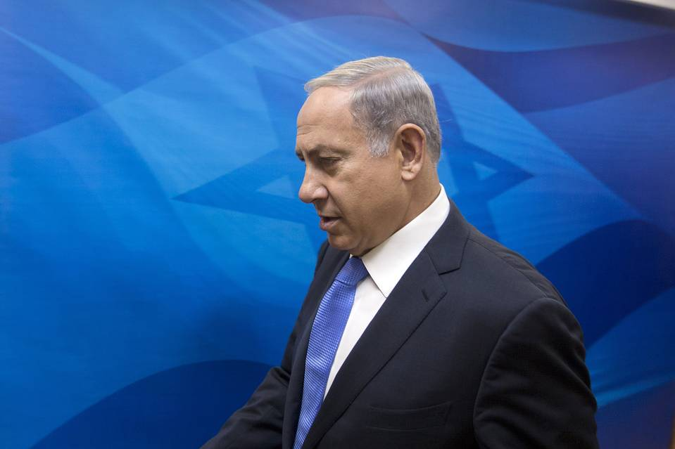 Israeli Prime Minister Benjamin Netanyahu arriving to chair the weekly cabinet meeting at his office in Jerusalem on Sunday.