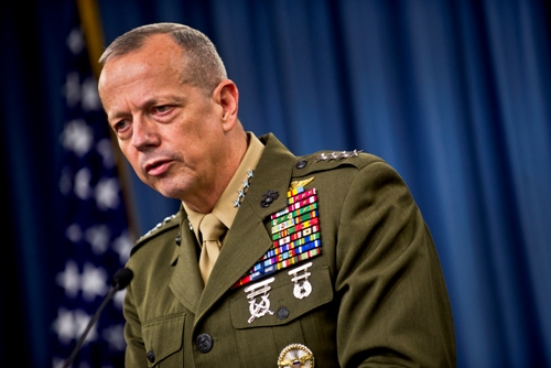 Commander, International Security and Assistance Force (ISAF) Gen. John R. Allen briefs the media in the Pentagon Briefing Room, Washington, D.C., May 23, 2012. (DOD photo by U.S. Navy Petty Officer 1st Class Chad J. McNeeley)