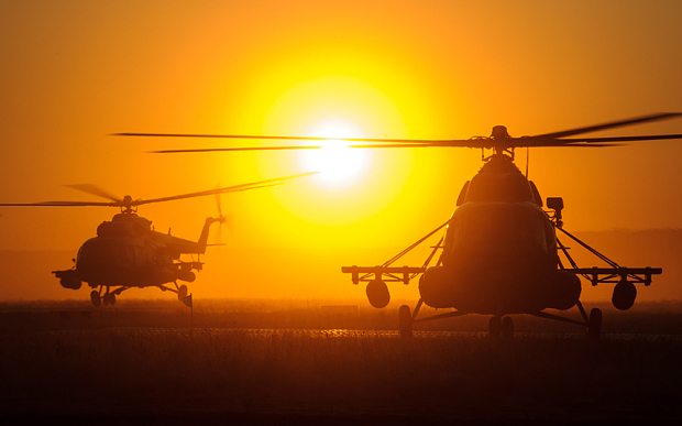 An Mi-8 helicopter participates in Russian strategic military exercises last week