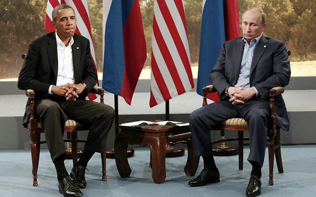 Obama meets with Putin during the G8 Summit in Northern Ireland, 2013