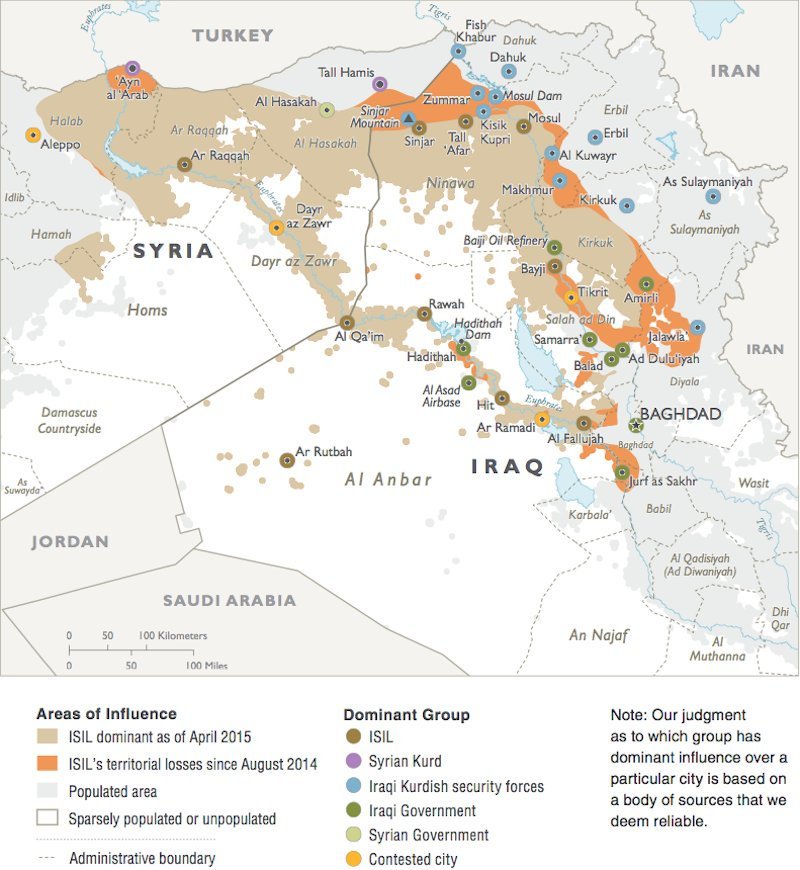 ISIS Control Pentagon Map