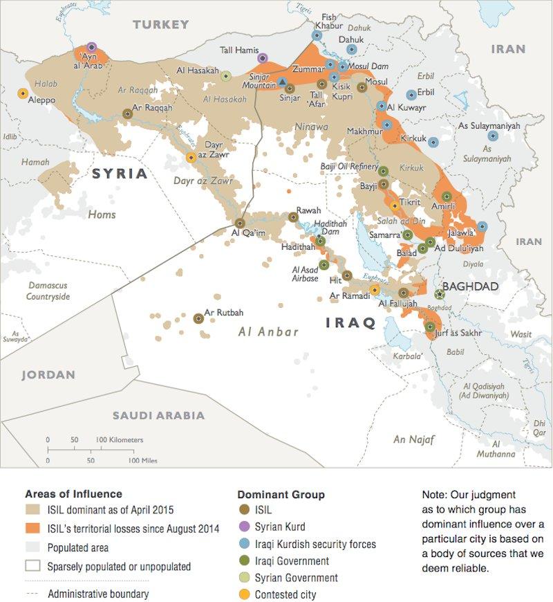 ISIS Control Pentagon Map
